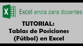 Tabla De Posiciones En Excel (Fútbol)