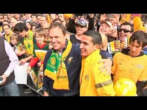 Australia fans celebrate with World Cup-qualifying Socceroos