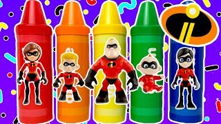 NEW The Incredibles Colorful Crayons with Baby Jack Jack and Colorful Surprise Eggs and Toys