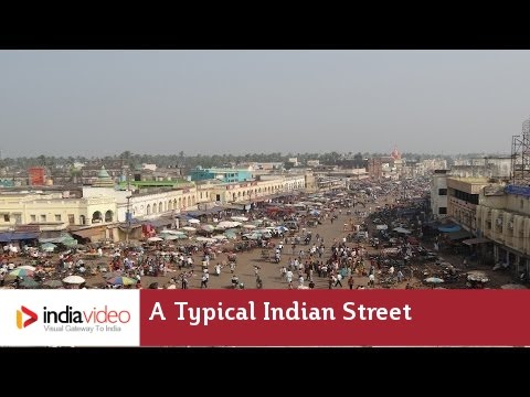 A typical Indian street in Puri, Odisha