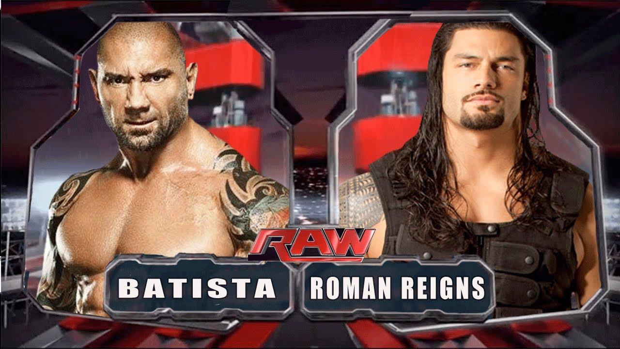 wwe raw 2014 batista vs roman reigns match hd youtube