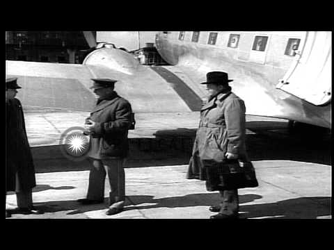 British and American, civilian and military officials arrive at Belgrade, Yugosla...HD Stock Footage