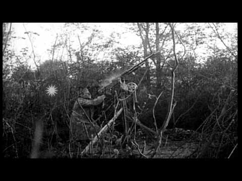 US Army troops operating machine guns,in France, during World War I HD Stock Footage