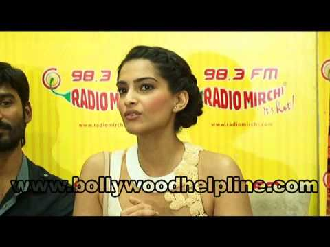 Sonam Kapoor and Dhanush At Radio Mirchi for the promotion of film Raanjhanaa