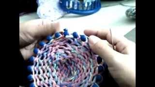 Como Empezar Pantufla/calcetin X Punta/telar Azul Parte2