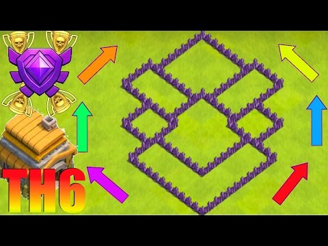 👌🏻😍Clash of Clans  | New BEST Th6 Trophy/War Base [2017] - Anti-Giant (Hybrid Farming Base) CoC