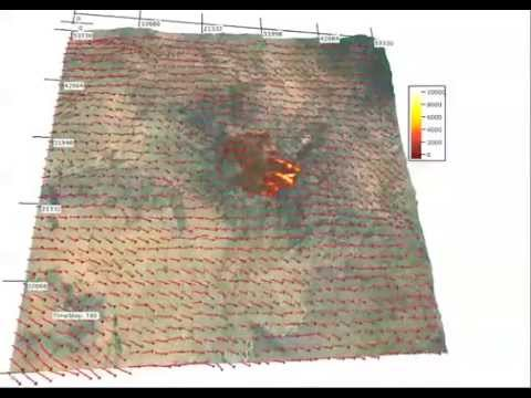 Yarnell Hill Fire, simulation of fire spread and wind