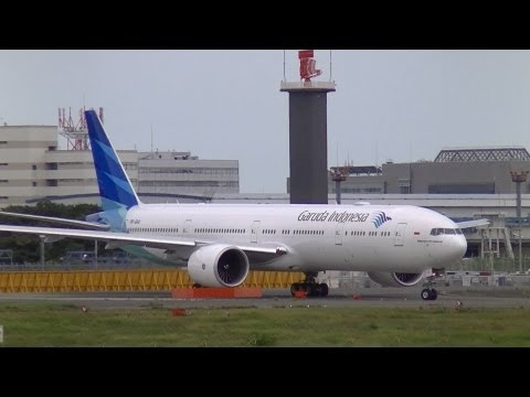 Garuda Indonesia B777-300ER PK-GIA of GA885 takeoff from Narita Airport for the first time