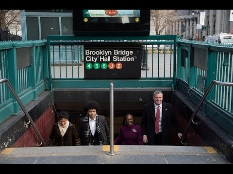 Mayor Bill de Blasio Arrives to Inauguration by Subway