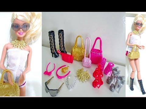 Barbie Fashionistas -  Ayakkabı ve Aksesuar seti  ( çanta, kolye ,toka )