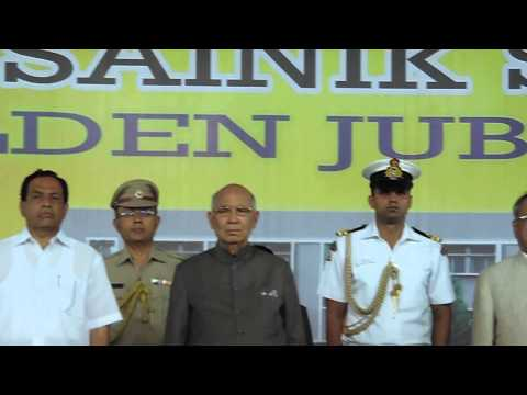 Sainik School Bijapur- GJ, Nadageethe on arrival of Shri  Pranab Mukherjee 2