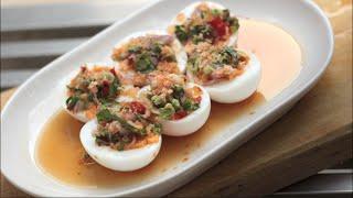 Spicy Thai Egg Salad Recipe ยำไข่ต้ม - Hot Thai Kitchen!