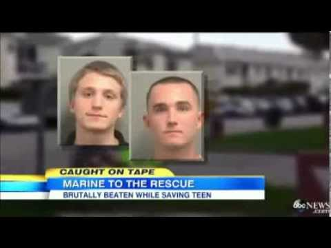 Marine Gets A Beat Down Trying To Protect A Young Boy From Bullies