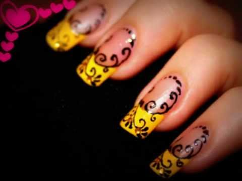 Nail Design- Yellow French with Black swirls. Nail art pen. - YouTube
