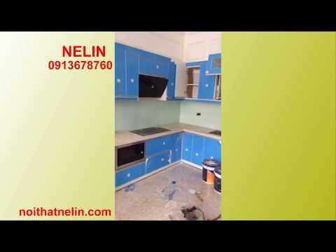 Tủ bếp cánh Acrylic thùng tủ bằng melamin và picomat