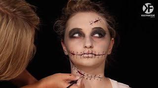 Schminken Zu Halloween: Spannendes Nahtgesicht Schminken
