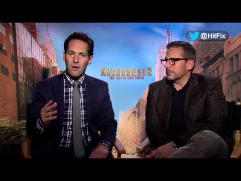 Steve Carell and Paul Rudd discuss hilarious improv moments for 'Anchorman 2'