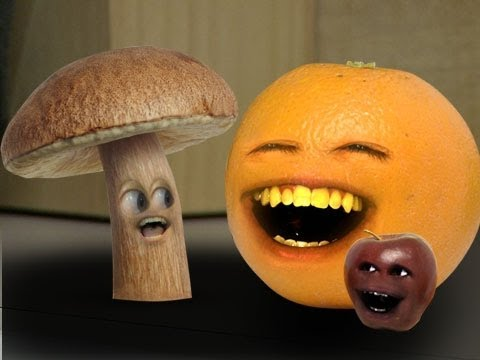 Annoying orange and a mushroom