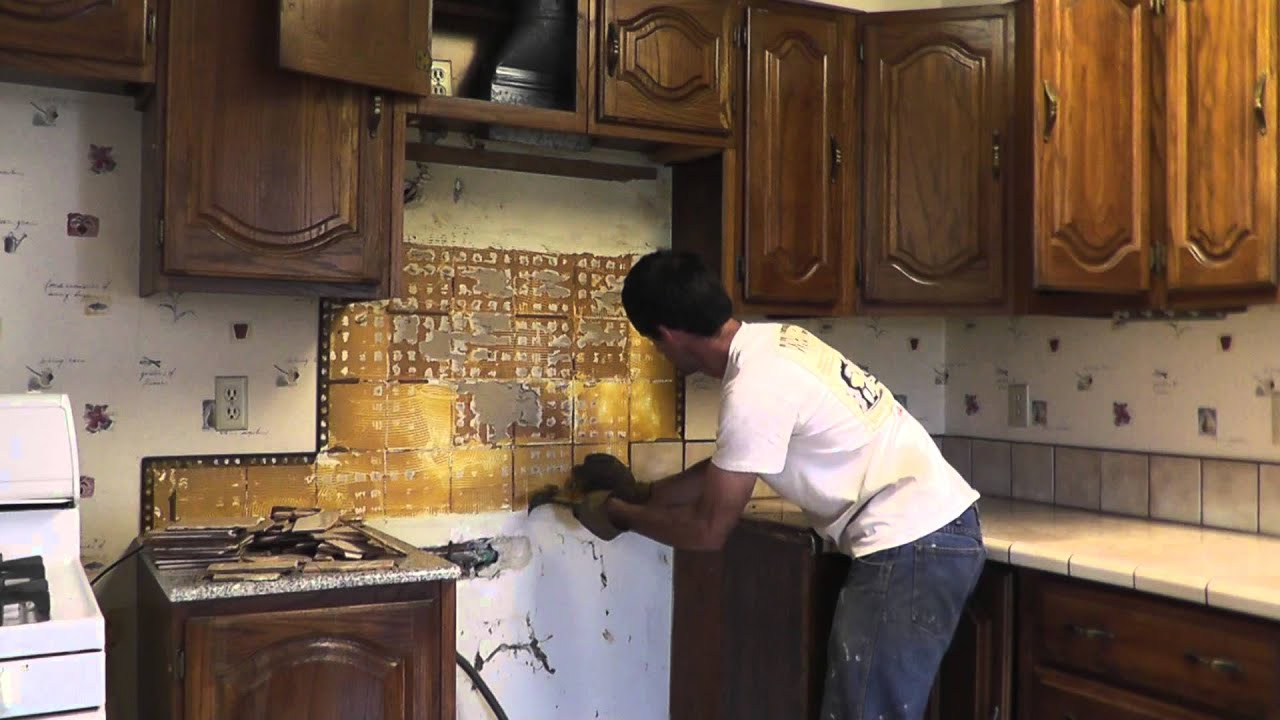 How To Install Granite Countertops On A Budget Part 1 Removing The Old Tile Youtube