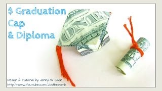 DIY How To Fold $2 Money Origami Graduation Cap & Diploma