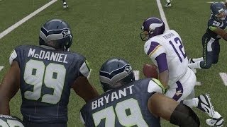 Madden 25 (PS4): Vikings Vs Seahawks 1st Half (Rain Game