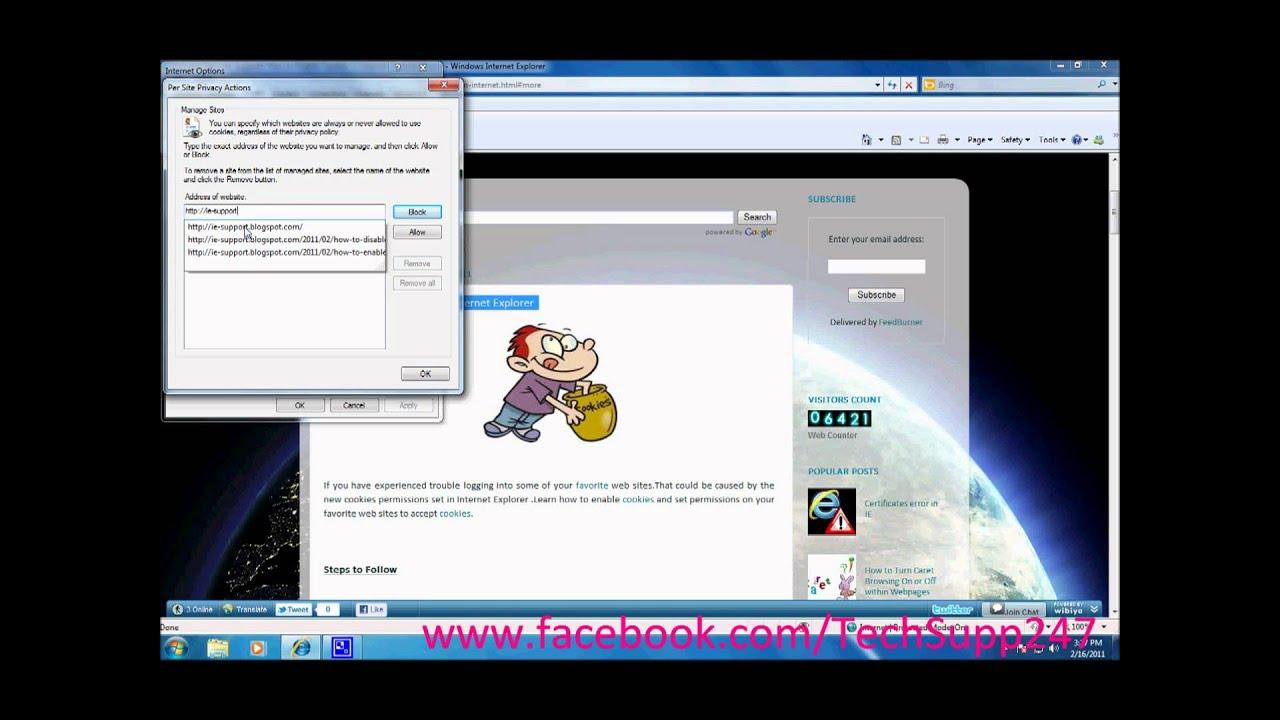Enabling Cookies In Internet Explorer 11
