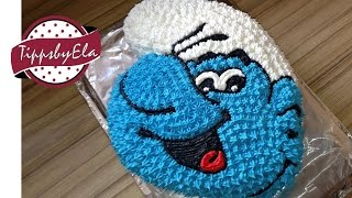 How to make a smurfs cake with whipped cream / smurfette cake - english