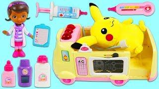 Pokemon PIKACHU Gets Sick and Visits Doc McStuffins Pet Vet Toy Hospital Ambulance!