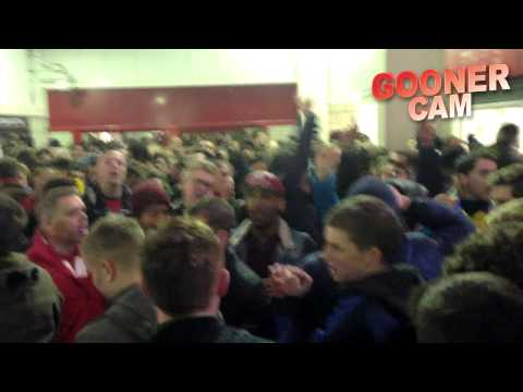 Arsenal: Goonercam  - Fans at Stoke With New Koscielny Song