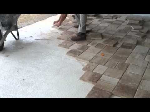 Laying Thin Pavers Over Concrete Youtube