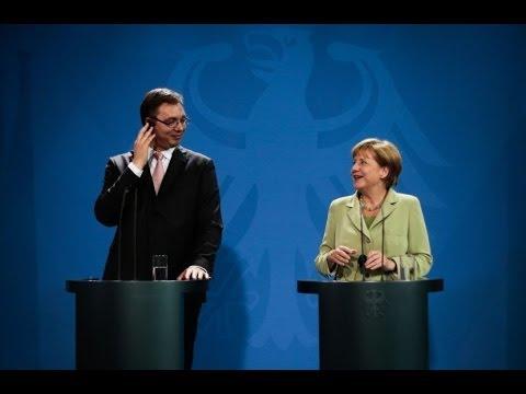 Zajedničko obraćanje premijera Vučića i kancelarke Merkel