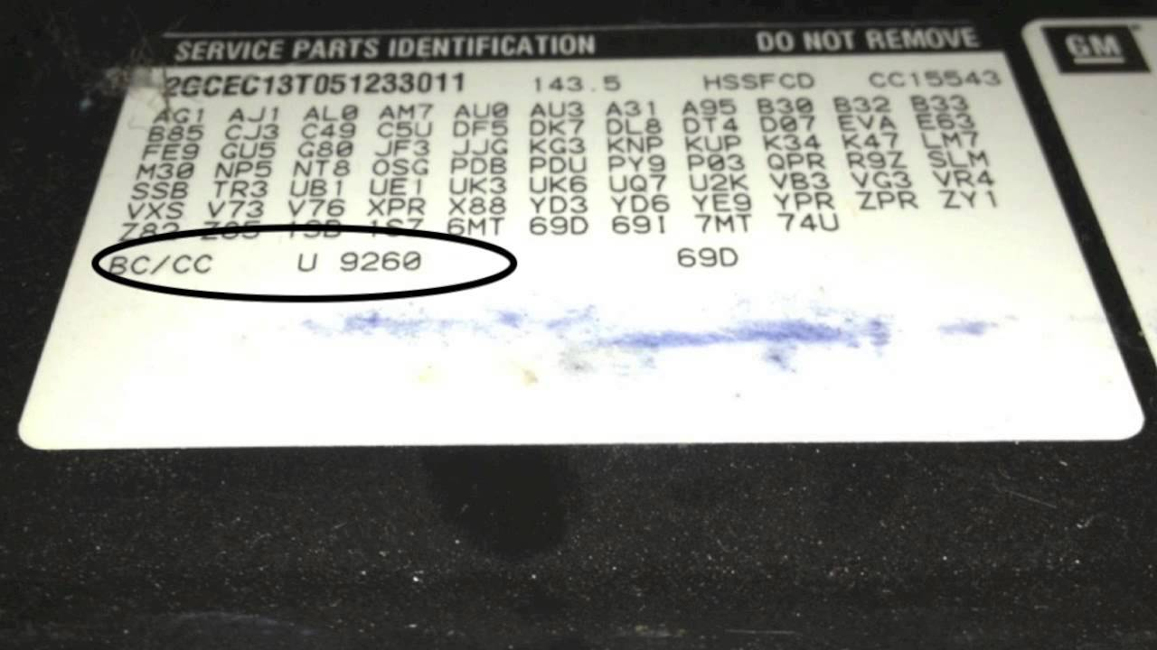 General Motors Holden Paint Codes