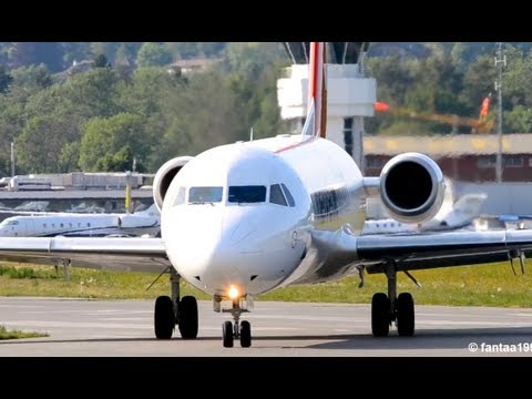 Close takeoff & great jet sound ||  Fokker 100 HD