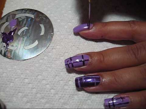 Purple Lattice Nail Art Tutorial - YouTube, More pics can be seen in this post: http://mysimplelittlepleasures.blogspot.com/2010/03/notd-purple-lattice-maybelline-goody.html Nail polish used: Maybellin...