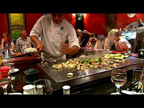 Japanese show cooking - part 1 - Iberostar Japanese Restaurant, The Iberostar Paraso Beach has a Japanese Restaurant by the Iberostar Lindo lobby that guests have access to and Chef Edwuardo puts on a show for our final ...