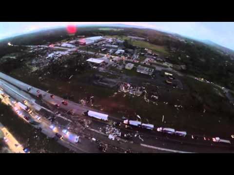 Arkansas Tornado Damage Aerial Video 4-27-2014
