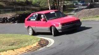 Ford Laser Tx3 4WD Turbo Racing compilation at Mt Cotton Hillclimb. Don Exton