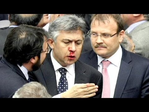 Policy punch-up as brawls break outs in Turkey's parliament over judicial reform