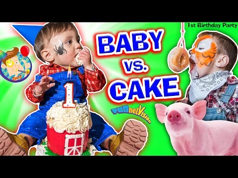 BABY vs CAKE! Shawn's 1st Birthday Party! Family Games & Activities w/ FUNnel Vision + Presents Haul