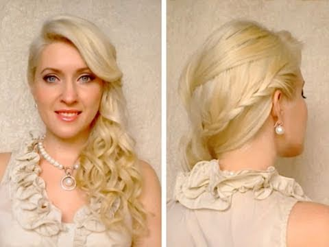 Gorgeous braided half up hairstyles for long hair with side swept curls Prom wedding summer 2011