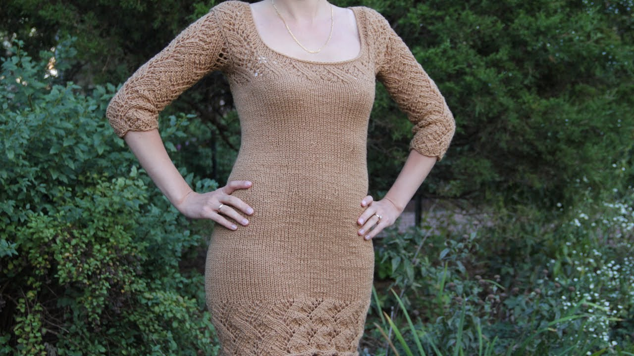 How to knit a womans dress. Video tutorial with detailed ...