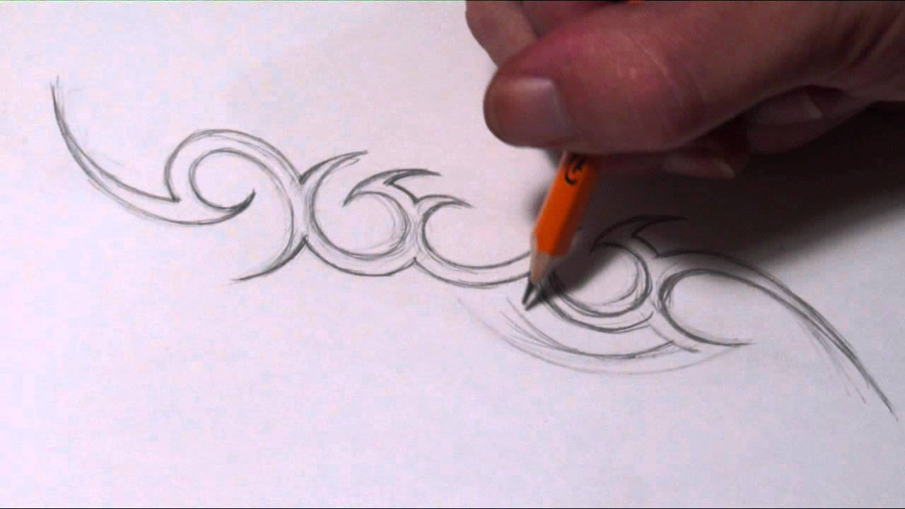 Drawing a simple tribal name tattoo design youtube for How to make a tattoo painless