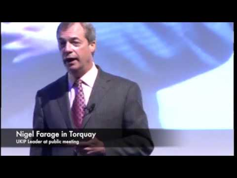 Nigel Farage MEP, the UKIP Leader at a packed public meeting in Torquay