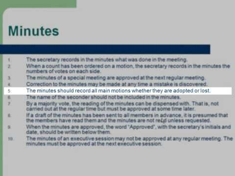 Roberts Rules of Order: Minutes: 16 - YouTube