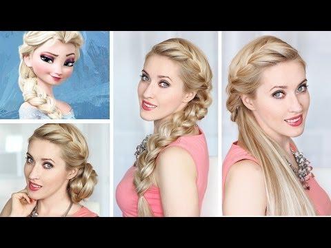 Frozen Elsa's side french BRAID, BUN and HALF UPDO hairstyles - Jégvarázs Elsa frizurája