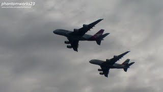 EMIRATES & QANTAS A380 FORMATION FLYOVER AT SYDNEY HARBOUR