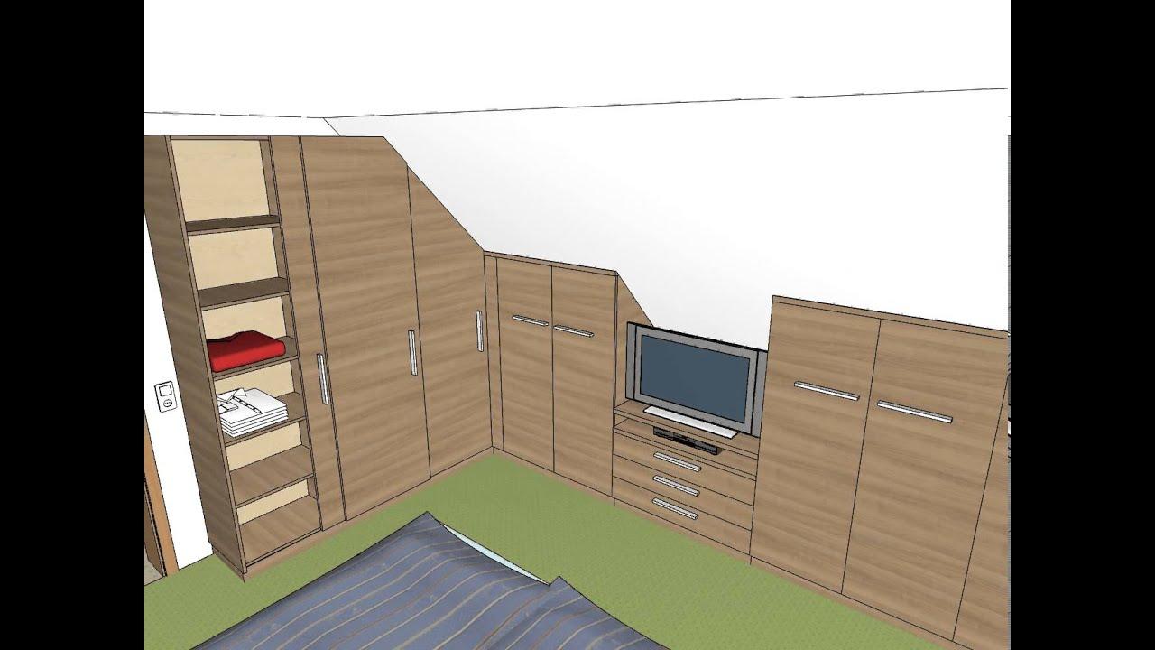 schlafzimmer einbauschrank dachschr ge tv youtube