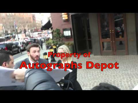 Chris Evans signing autographs in New York City
