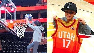 🏀10 Year Old Slam Dunks NBA HOOP signs with UTAH JAZZ!🏀