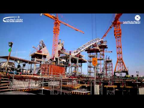 First Steel Arch Assembly of the Roof Structure in the Midfield Terminal Project